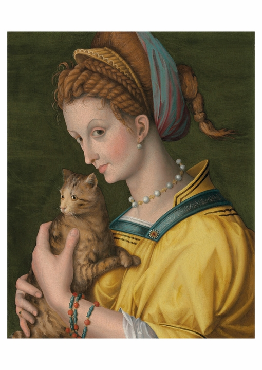 Portrait of a Young Lady Holding a Cat Postcard