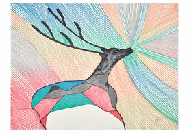 Pudlo Pudlat: Caribou in Northern Lights Birthday Card
