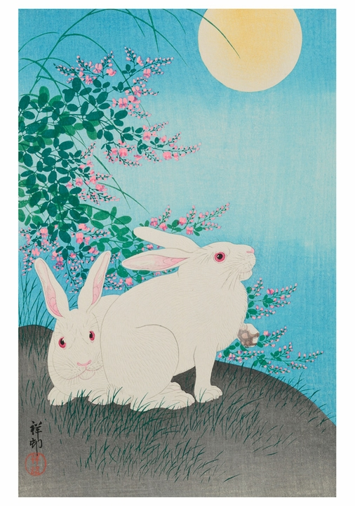 Rabbits and Bush Clover Notecard