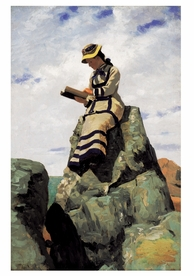 John George Brown: Reading on the Rocks Notecard