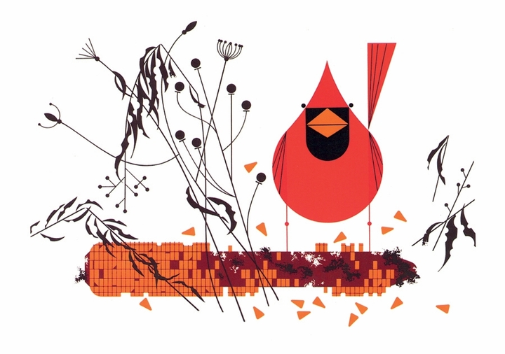 Charley Harper: Red and Fed Notecard