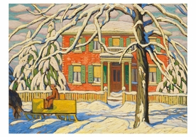 Lawren S. Harris: Red House and Yellow Sleigh Notecard