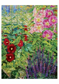 Rosalind Wise: Garden Border with Hollyhocks Notecard