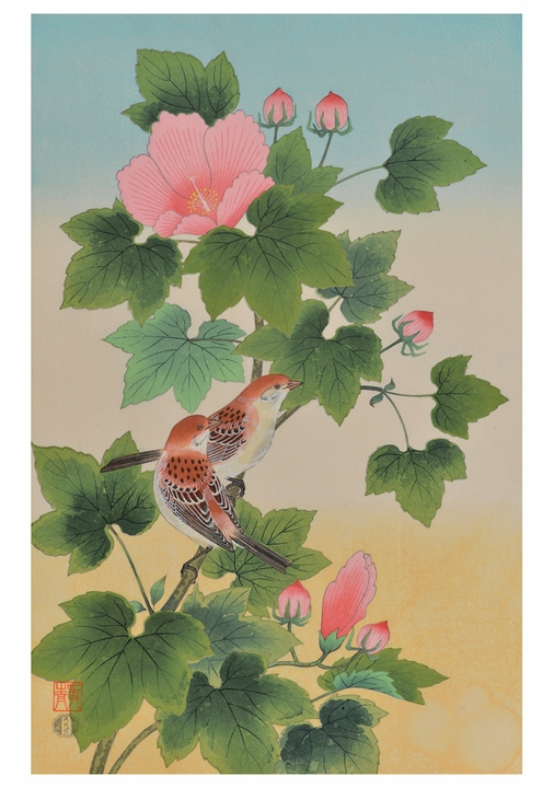 Sparrows and Cotton Rose Notecard