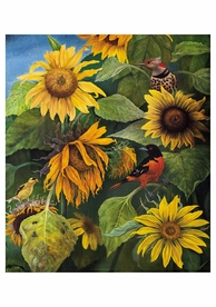 Jay Burch: Birds and Sunflowers Notecard