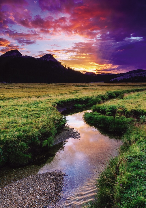 Sunset Over Tuolumne Meadows, Yosemite National Park Notecard
