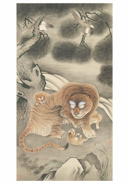 Tani Buncho: Tiger Family and Magpies Notecard