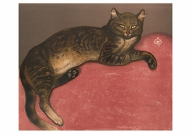 Théophile-Alexandre Steinlen: Winter: Cat on a Cushion Birthday Card