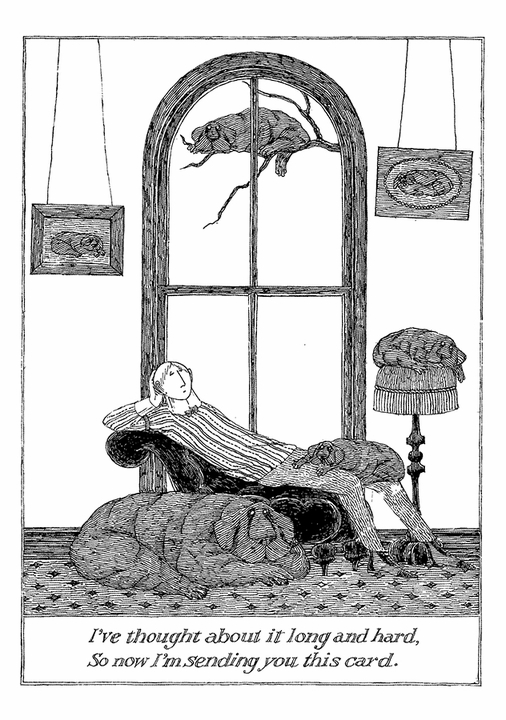 Edward Gorey: Thought About It Notecard