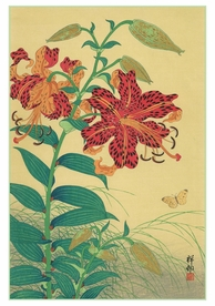 Ohara Shōson: Tiger Lilies and Butterfly Notecard