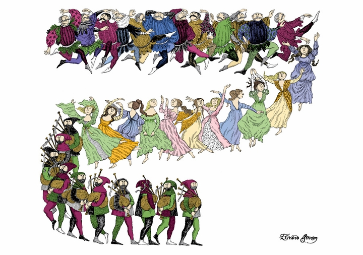Edward Gorey: Twelve Lords a'Leaping Notecard