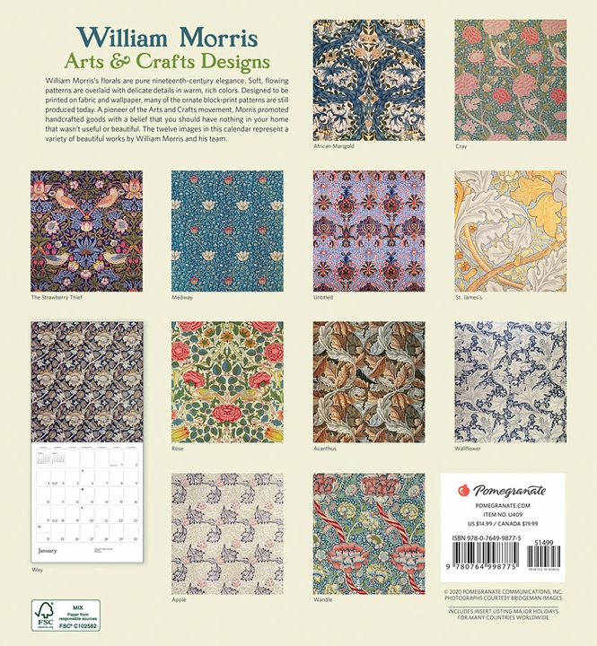 William Morris: Arts & Crafts Designs 2021 Wall Calendar