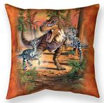 Battle of Dinos Throw Pillow