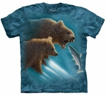 Bears Fishing Adult T-shirt