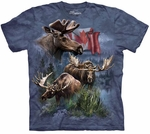 Canadian Moose Collage Adult T-shirt