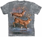 Deer Whitetail Run Adult T-shirt