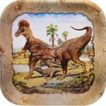 """SPECIAL OFFER Tyrannosaurus rex """"Hunting with Dinosaurs"""" Deluxe T-rex Dinosaur Beverage Plates, 7 inch, 8 pcs"""
