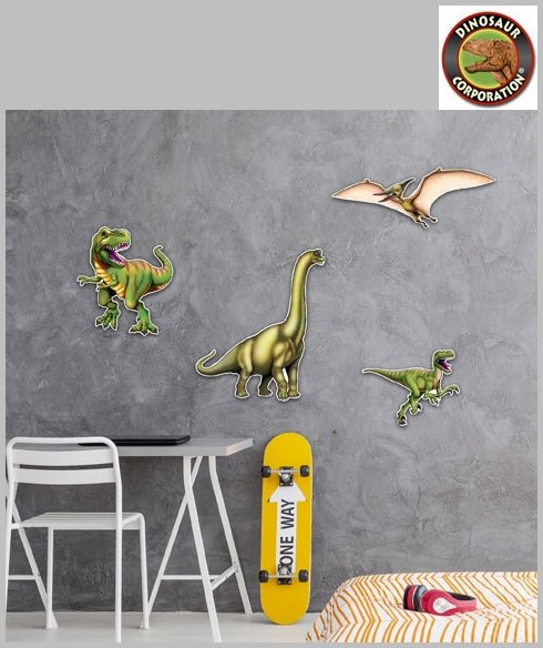 Pack of 8 Assorted Dinosaur Cutouts Prehistoric Animals Party Wall Decorations