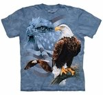Faded Flag & Eagles Adult T-shirt
