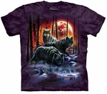 Fire and Ice Wolves Adult T-shirt