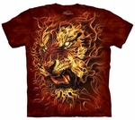 Graphic Fire Tiger Adult T-shirt