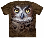 Great Horned Owl Head Adult T-shirt