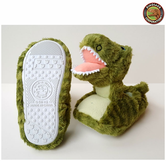 8f94b2f4a5a2 Green T-rex Plush Dinosaur Slippers