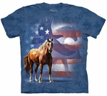 Horse Wild Star Flag Adult T-shirt