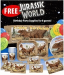 Jurassic World Deluxe T-rex Exlusive Party Tableware for 8 Guests with $99+ Order