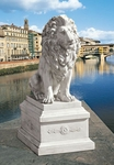Lion of Florence Sentinel Statue with Base Sculpture