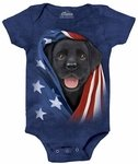 Patriotic Black Lab Pup Baby Onesie