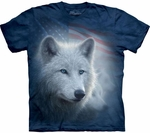 Patriotic White Wolf Adult T-shirt