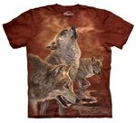 Red Glow Wolves Adult T-shirt