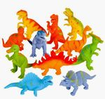 "Large Squeeze Stretch Dinosaurs 4"", 12 pcs"