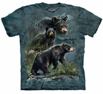 Three Black Bears Adult T-shirt