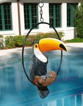 Tropical Toucan Sculpture on Ring Perch Statue