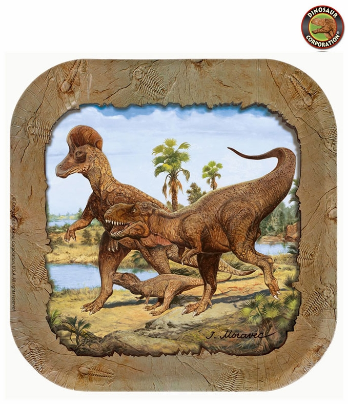 Wholesale Hunting With Dinosaurs T-REX Exclusive Beverage Plates, 24 pcs