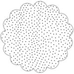 "16"" Black Tiny Dots Scalloped Cellophane Sheets"