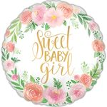 "17"" Floral Baby Girl Helium Saver Balloon"