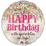 "17"" Sprinkles on Top Birthday Helium Savers Balloon"