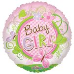 "18"" Baby Girl Butterfly Clear View Balloon"
