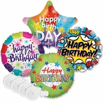 "18"" Birthday Balloon Assortment with Plastic Ribbon Weights"