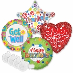 "18"" Everyday Balloon Assortment with Plastic Ribbon Weights"