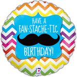 "18"" Fan-Stache-tic Birthday Balloon"