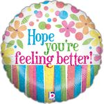 "18"" Feeling Better Flowers Holographic Balloon"