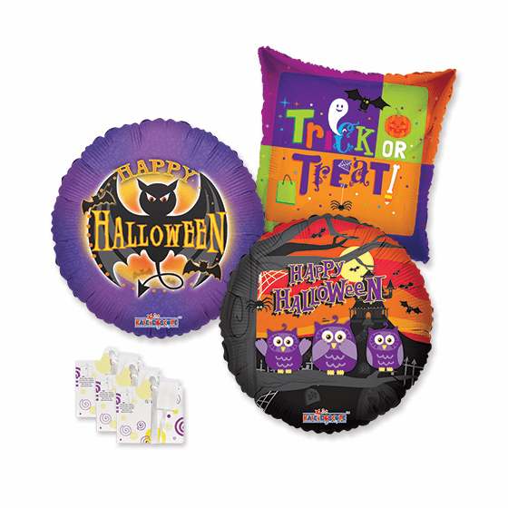 """Assorted 18"""" Halloween Balloons w/Ribbon Weights"""