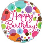 "17"" Happy Birthday Polka Dots Helium Savers Balloon"