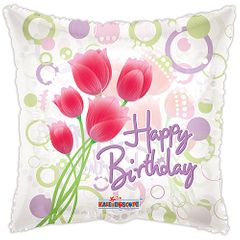 """18"""" HBday Tulips Clear View Balloon"""
