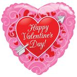 """18"""" HVD Red Heart With Arrow Clear View Balloon"""