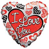 """18"""" ILY Red & Black Hearts Holographic Balloon"""